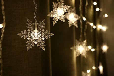 COOBL 16 Snowflake 104 Leds Curtain String Lights,6.5ft X 3.3ft Indoor  Outdoor