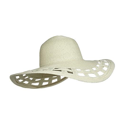 f6e7a5dee Cute Straw Derby Sun Hat w/Square Cut-Outs, Wide Brim Floppy Beach Cap