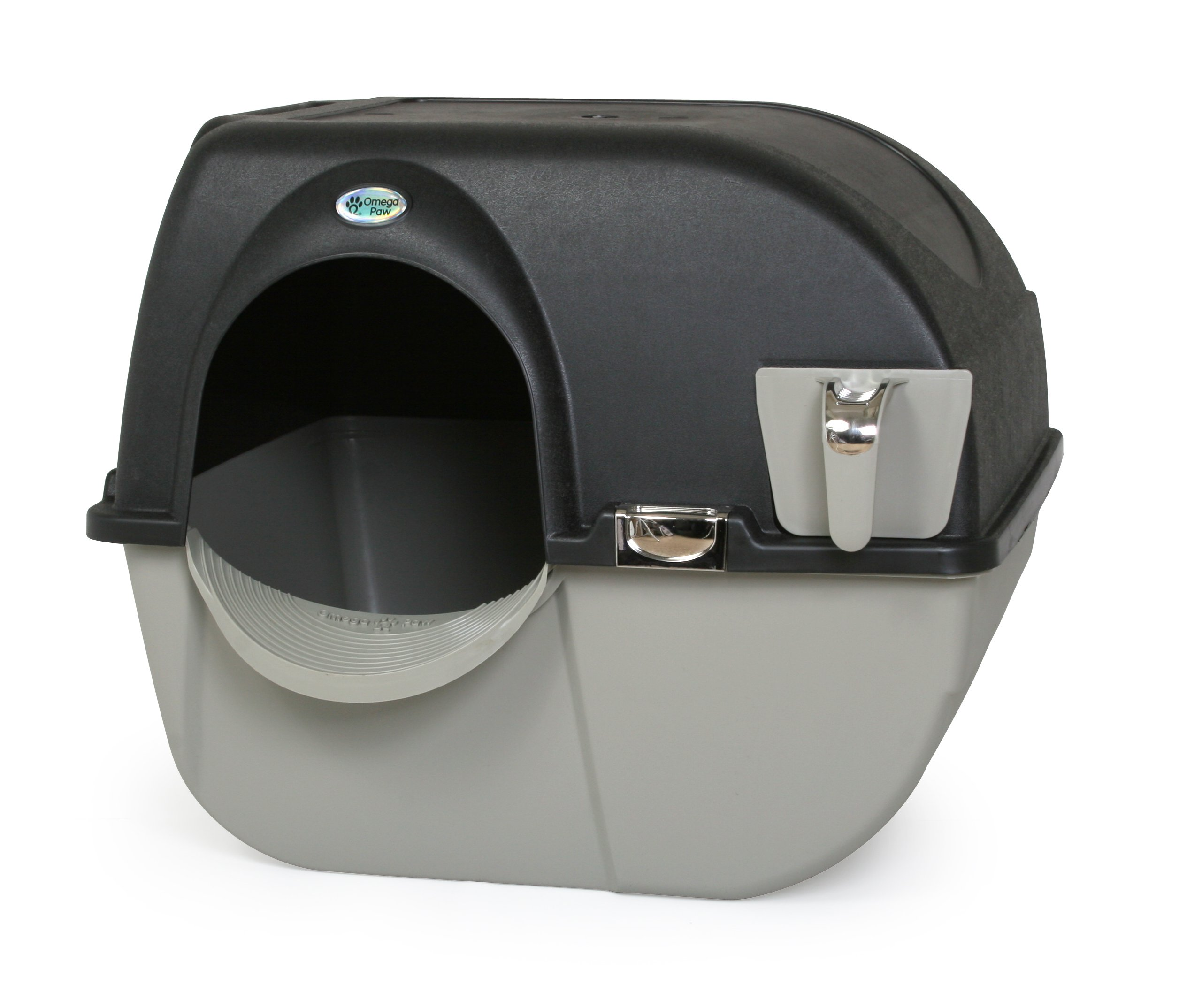 Omega Paw Elite Self Cleaning Roll 'n Clean Litter Box, Midnight Black, Large by Omega Paw