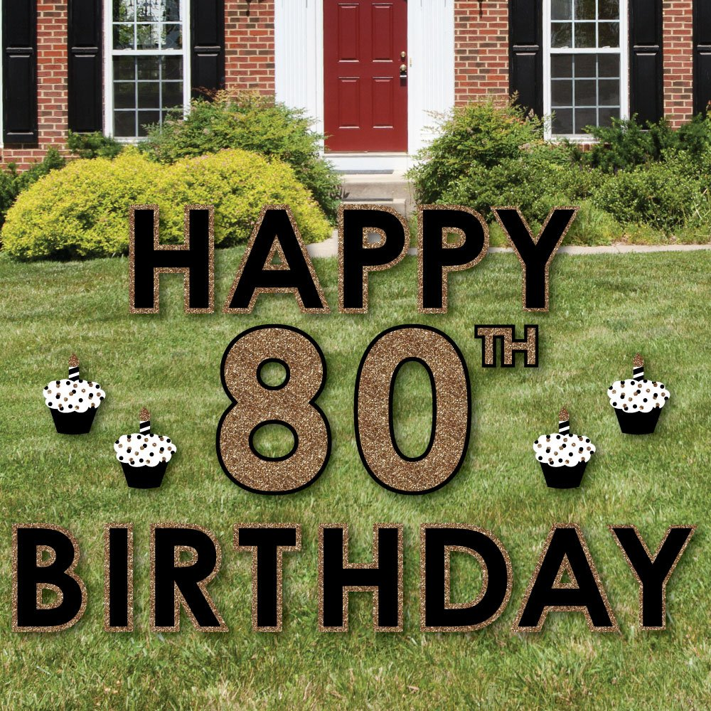 Big Dot of Happiness Adult 80th Birthday - Gold - Yard Sign Outdoor Lawn Decorations - Happy Birthday Yard Signs