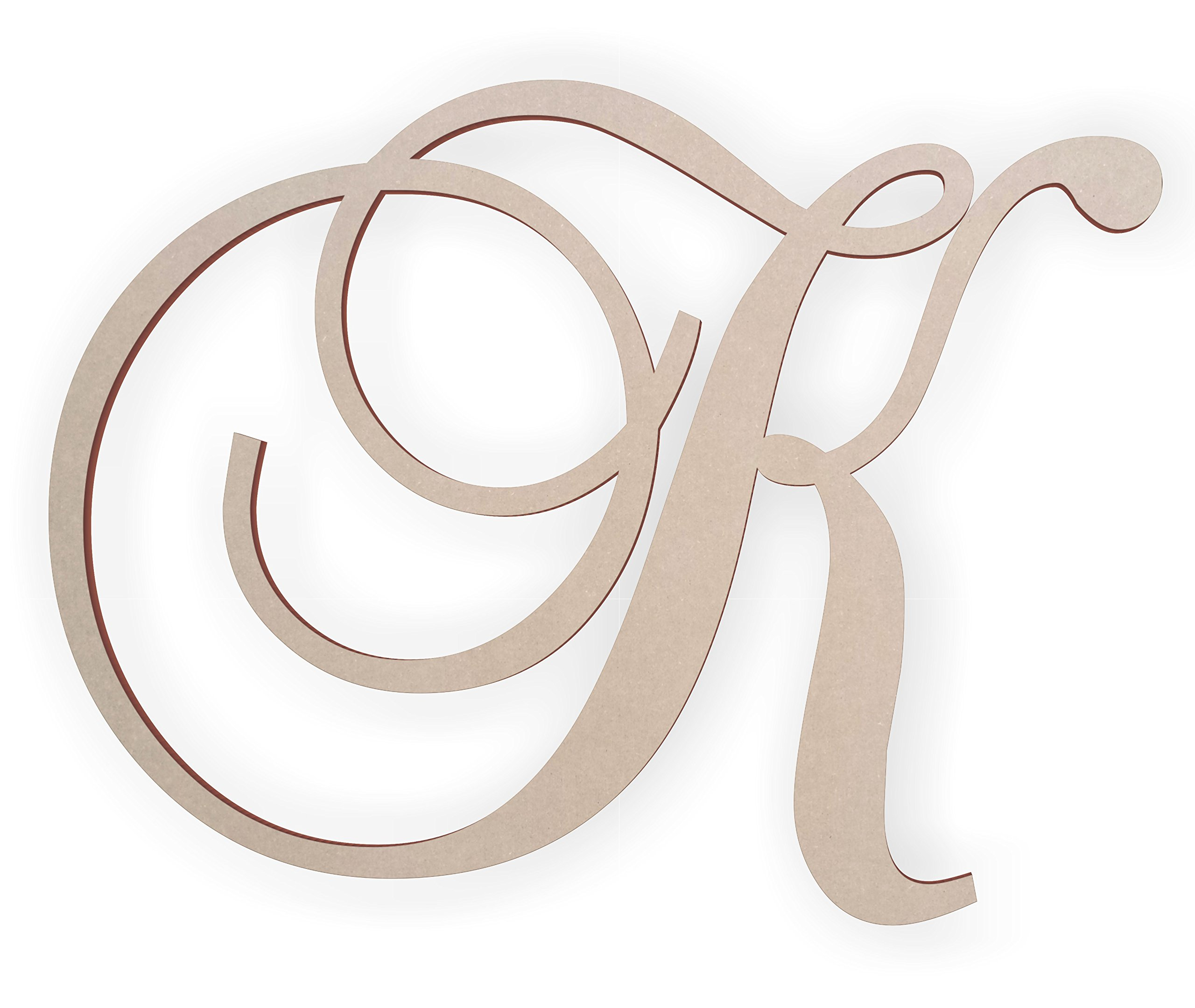 Jess and Jessica Wooden Letter K, Wooden Monogram Wall Hanging, Large Wooden Letters, Cursive Wood Letter