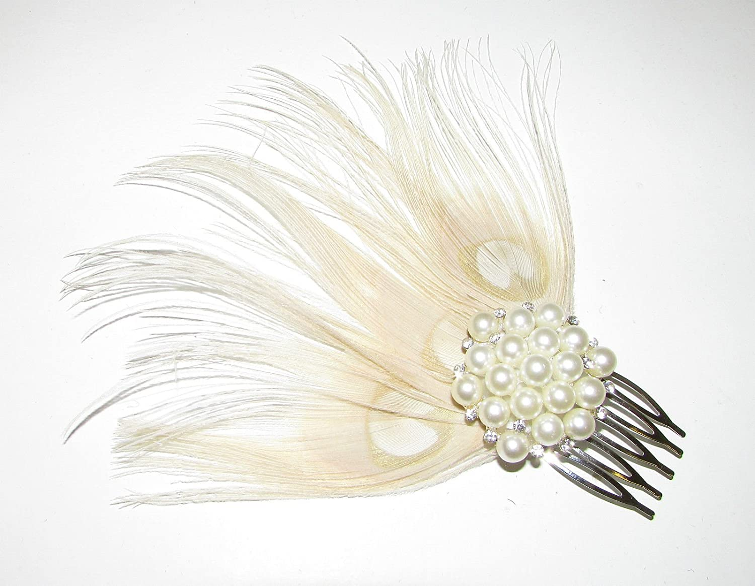 Ivory Cream Silver Pearl Peacock Feather Hair Comb Fascinator 1920s Bridal A92 *EXCLUSIVELY SOLD BY STARCROSSED BEAUTY*
