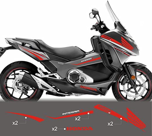 2 Adhesivos Resina 3D Letras Integra Compatible para Moto Scooter Honda 700-750 Plata