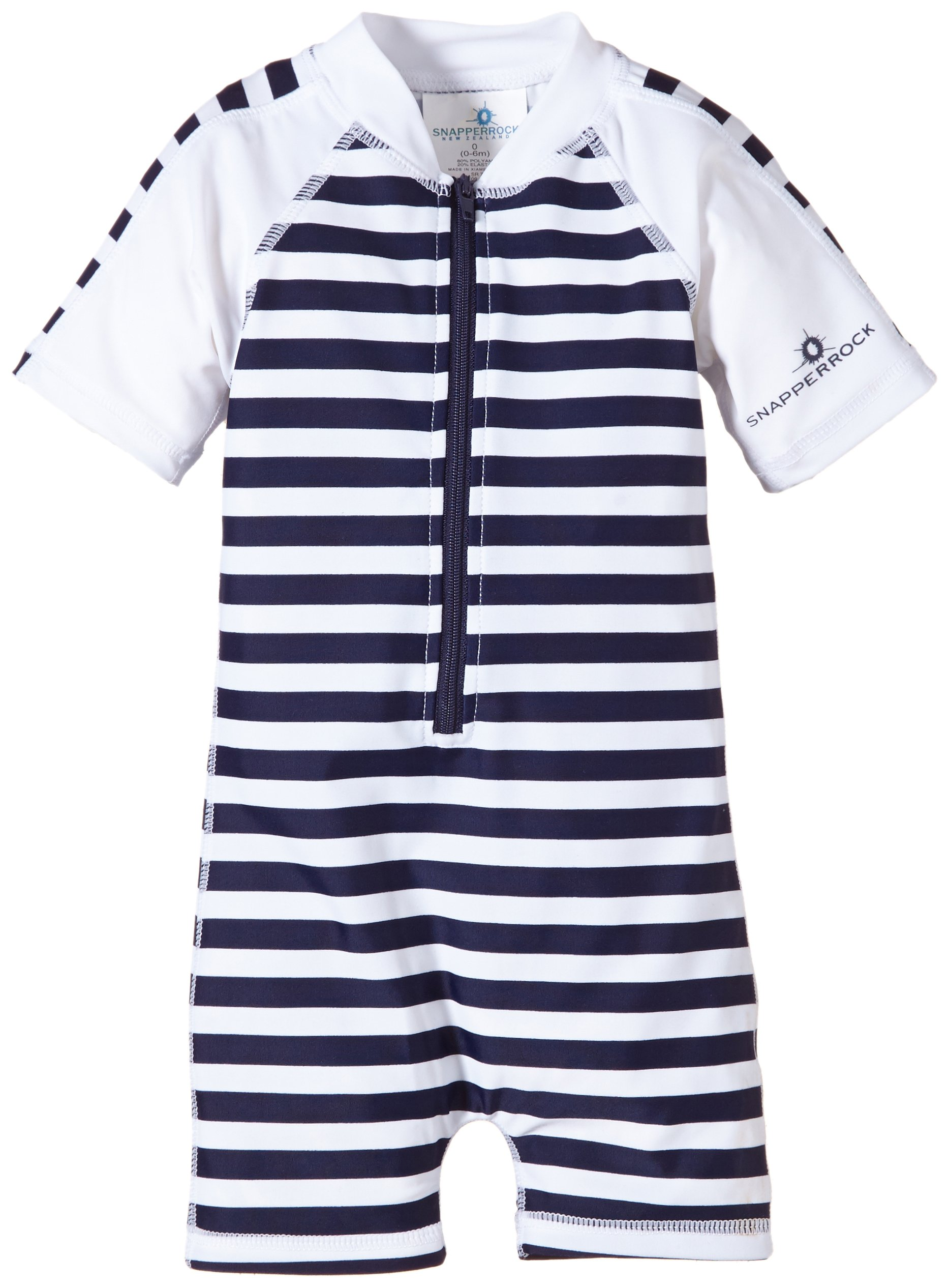 Snapper Rock Baby Boys' Zippered One Piece Short Sleeve Sun Suit, Navy White Stripe, 0 6 Months