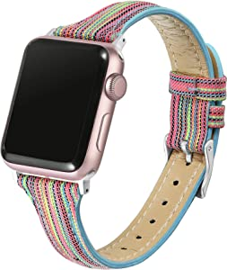 Secbolt Slim Woven Bands Compatible with Apple Watch Band 38mm 40mm, Classy Canvas Strap with Soft Leather Lining for iWatch SE Series 6/5/4/3/2/1, Rainbow