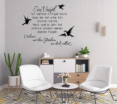 Wandaufkleber Wandtattoo Wandsticker Spruch Ein Vogel Hat Niemals Angst Grossen Und Farbauswahl Amazon De Handmade