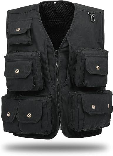 Men Outdoor Multi-Pocket Vest Fishing Photography Quick-Dry Zip Jacket Waistcoat