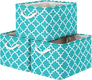 "WiseLife Storage Baskets [3-Pack] Large Collapsible Storage Bins Boxes Cubes for Clothes Toys Books, Perfect Storage Organizer for Shelf Closet, Kids Room, Nursery, w/Handles (Green, 15"" x 11"" x 9.5"")"