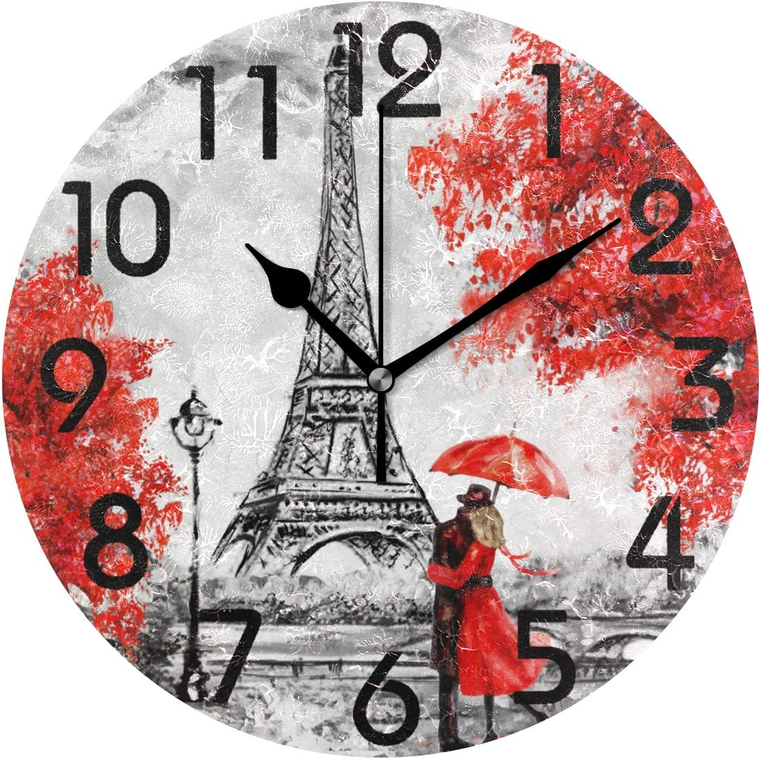 Naanle Trendy Romantic Eiffel Tower Paris Painting Print Round Wall Clock, 9.5 Inch Battery Operated Quartz Analog Quiet Desk Clock for Home,Office,School