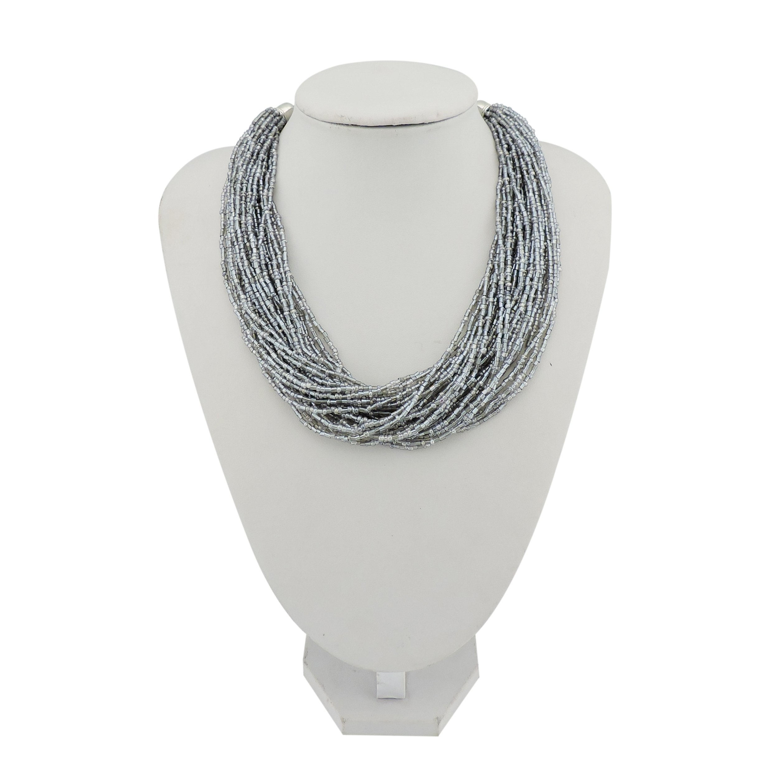 Bocar Multiple Strand Handmade Beaded 16'' Statement Collar Necklace for Women with Gift Box (NK-10402-Silver grey)