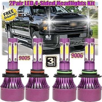 LED Headlight Kit 9006 6000K White Bulbs Low Beam for Chevy Silverado 1999-2007