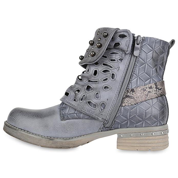 Stiefelparadies Damen Schuhe Stiefeletten Schnürstiefeletten Zierperlen Nieten Boots 155084 Schwarz Brito 39 Flandell xu41x