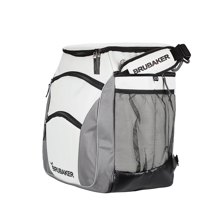 e301f497f42d4 ... Brubaker Skischuhtasche PROFESSIONAL für Schuhe und Helm mit Rucksack- Tragegurten und Schaum-Rückenpolster Silber