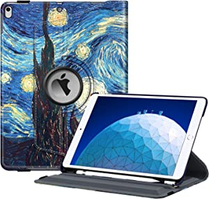 "Fintie Rotating Case for iPad Air (3rd Gen) 10.5"" 2019 / iPad Pro 10.5"" 2017-360 Degree Rotating Stand Protective Cover with Built-in Pencil Holder, Auto Sleep/Wake (Starry Night)"