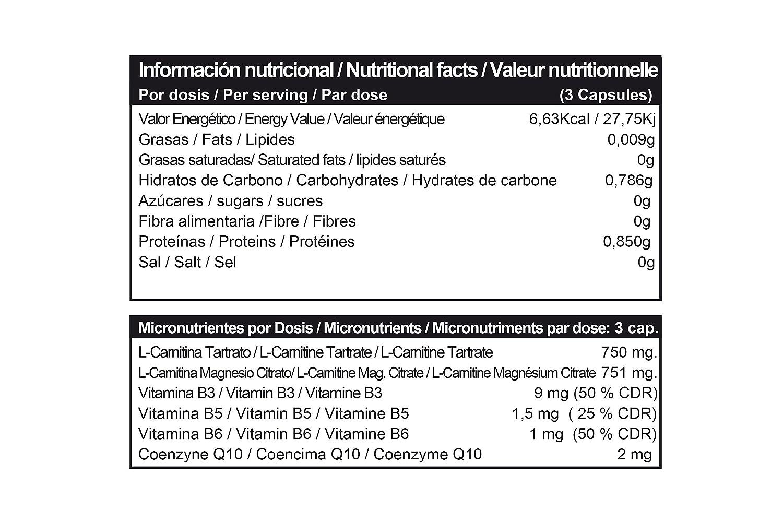 Carniltec Hardcore 90 Caps - L-Carnitina enriquecida con Vitamina B3, B5, B6 y Coenzima Q10: Amazon.es: Salud y cuidado personal
