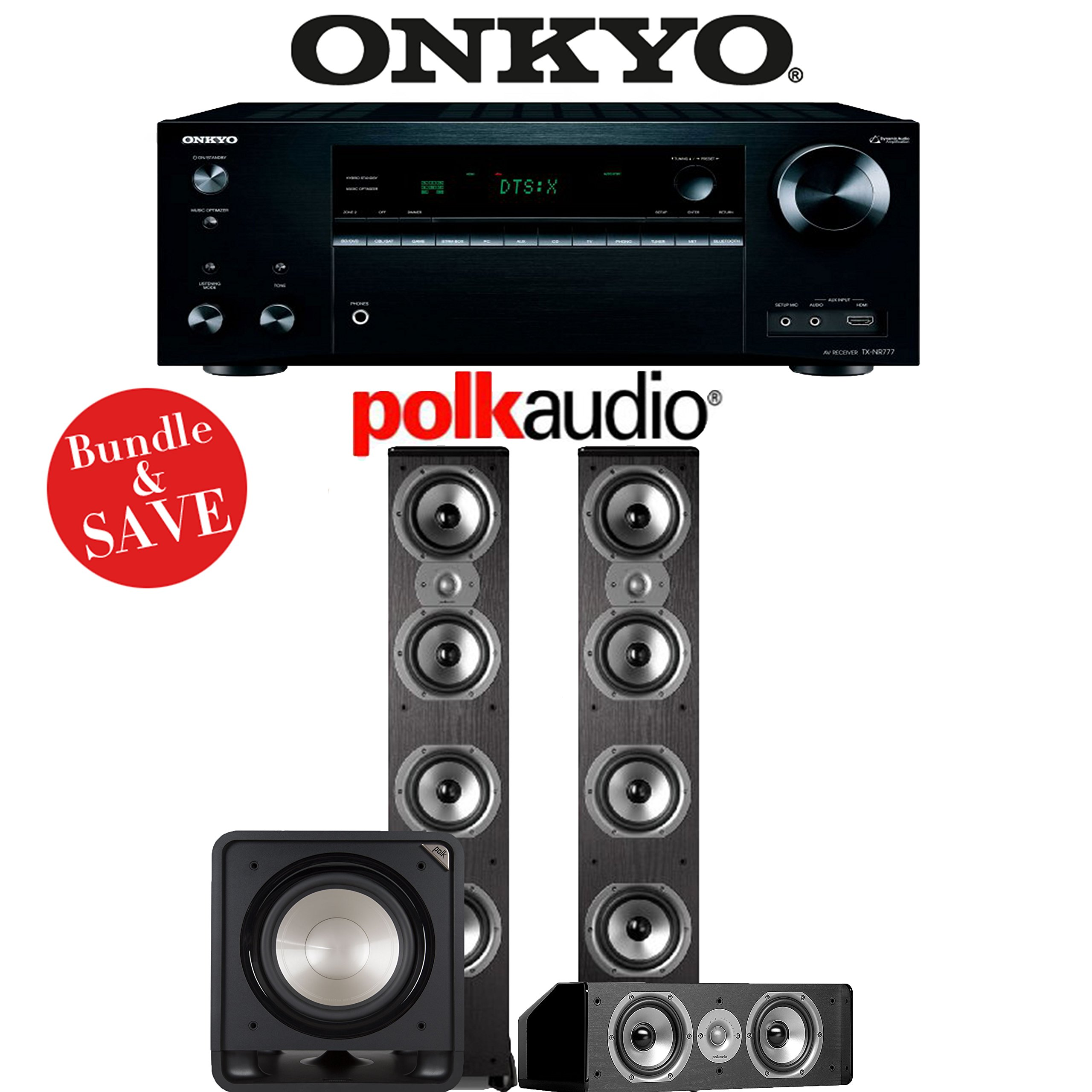 Onkyo TX-NR777 7.2-Channel 4K THX Certified Network A/V Receiver + Polk Audio TSi 500 + Polk Audio CS10 + Polk Audio HTS12 - 3.1-Ch Home Theater Package