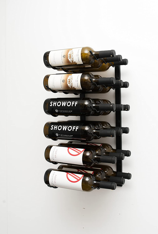 Black VintageView Wall Mounted 18 Bottle Wine Rack 2ft