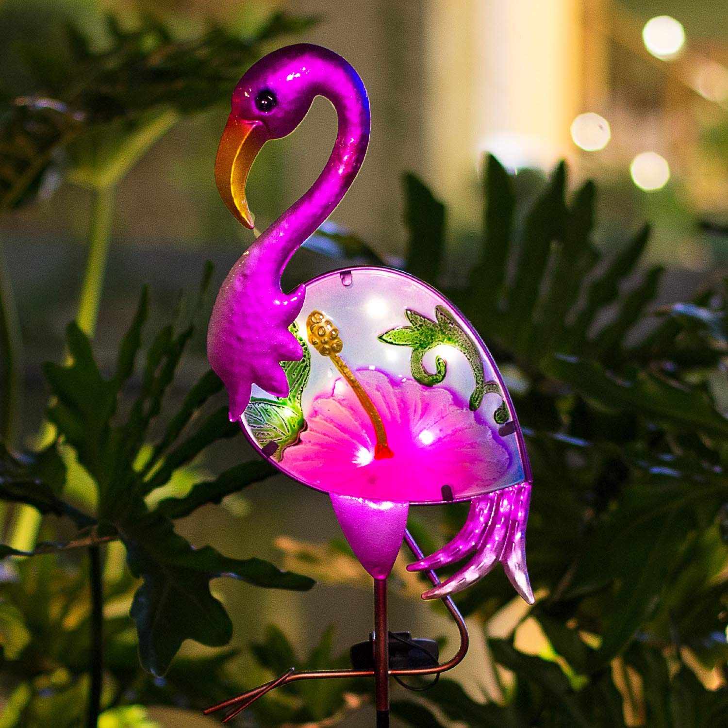 BOAER Flamingo Solar Pathway Lights Outdoor,Garden Stake Decorative Yard Art Metal& Glass Waterproof for Patio Lawn Pathway-8 Lumens