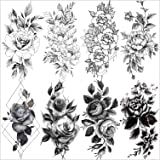 VANTATY 8 Sheets Petal 3D Black Flower Rose Temporary Tattoos For Women Waterproof Fake Body Art Arm Sketch Tattoo Stickers F