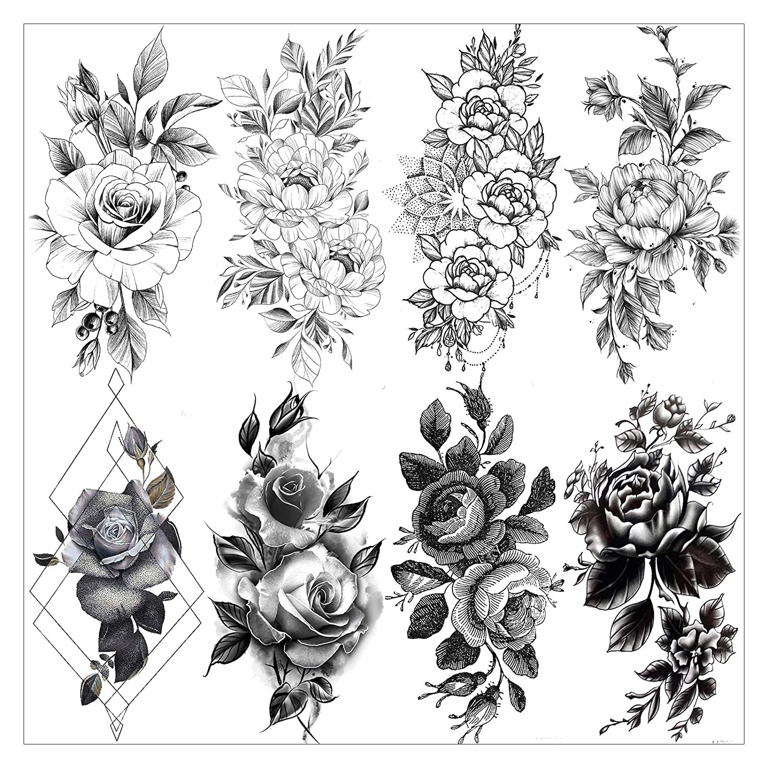 Amazon Com Vantaty 8 Sheets Petal 3d Black Flower Rose Temporary Tattoos For Women Waterproof Fake Body Art Arm Sketch Tattoo Stickers For Girls Shoulder Arm Leaf Tatoo Adults Beauty Beauty Flower tattoos can be pretty and rather feminine looking, but all the same there is considerable variety with regard to the style and overall look of the tattoo. vantaty 8 sheets petal 3d black flower rose temporary tattoos for women waterproof fake body art arm sketch tattoo stickers for girls shoulder arm