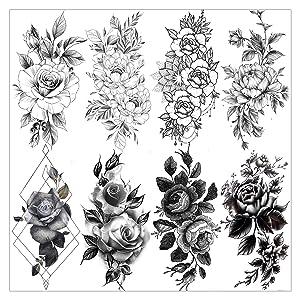 VANTATY 8 Sheets Petal 3D Black Flower Rose Temporary Tattoos For Women Waterproof Fake Body Art Arm Sketch Tattoo Stickers For Girls Shoulder Arm Leaf Tatoo Adults Beauty.