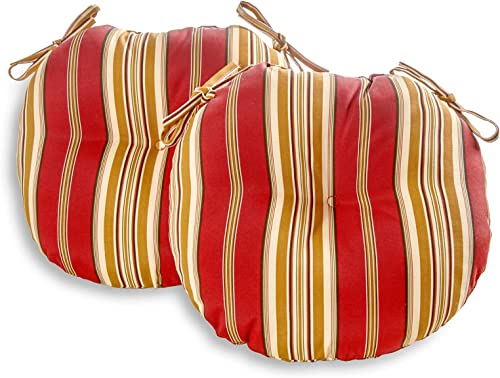 South Pine Porch AM5816S2-ROMASTRIPE Roma Stripe 15-inch Round Outdoor Bistro Chair Cushion