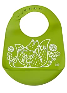 modern-twist Bucket Bib 100% plastic free silicone waterproof, adjustable, dishwasher safe, Bucket Bib, Green Foxes