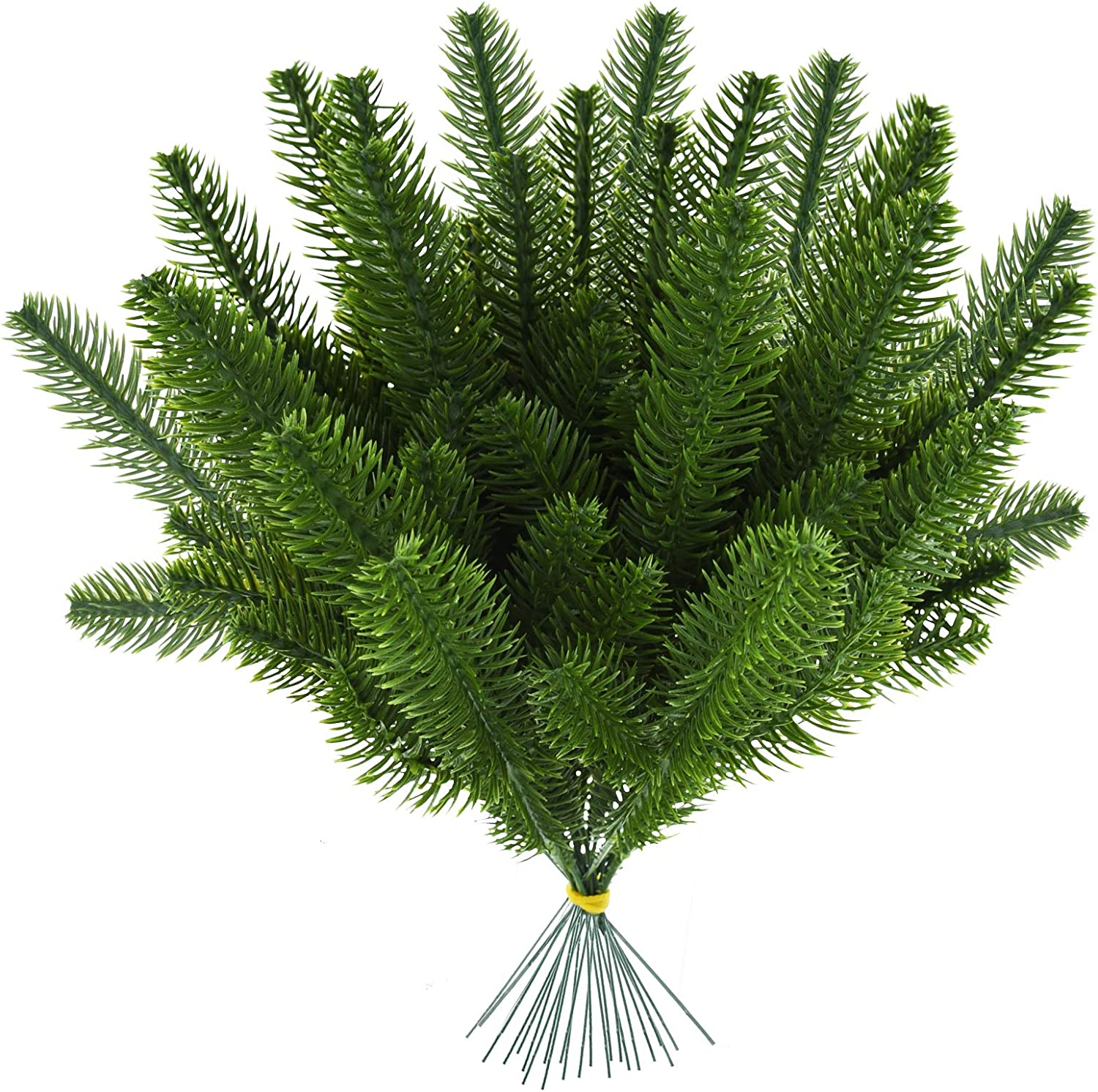Marrywindix 40pcs Artificial Pine Branches Pine Picks Green Leaves Pine Needles for Garland Wreath Christmas Holiday Home Garden Decor