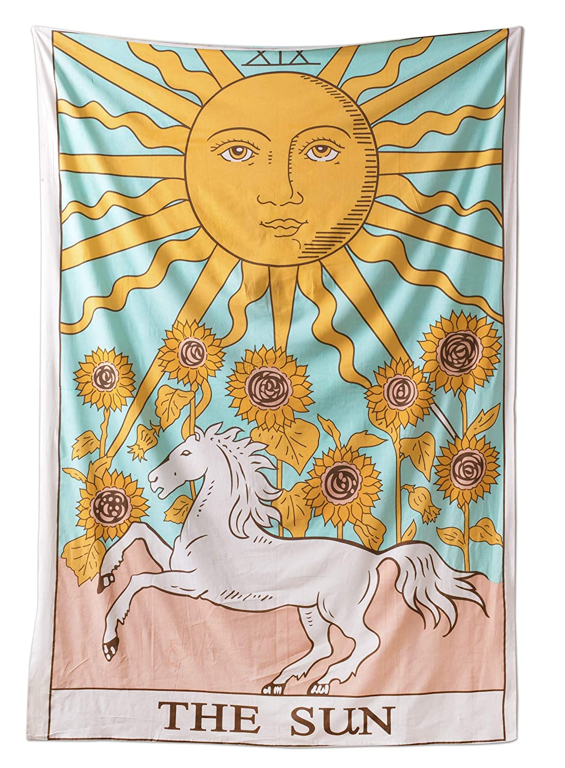 Tarot Flag Tapestry The Sun The Moon The Star Tapestry Hippie Cotton Printed Handmade Wall Hanging Wall Tapestries