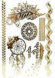 TAB37 - Planche Tattoo Tatouage Temporaire Métallique Body Art Symboles Ethnique - Or