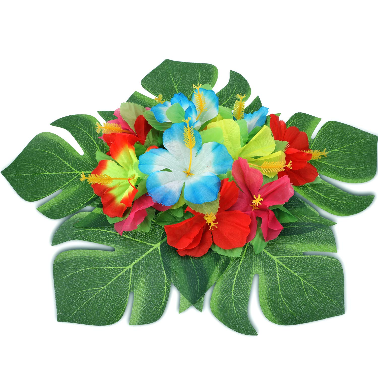 188 Pieces Hawaiian Luau Party Decorations,Include 30 Pieces Tropical Palm Leaves, 30 Pieces Hibiscus Flowers, 4 Pieces Paper Pineapples, 24 Pieces Cupcake Toppers, 50 Pieces 3D Fruit Straws, 50 Pieces Paper Umbrella by Zonon (Image #4)