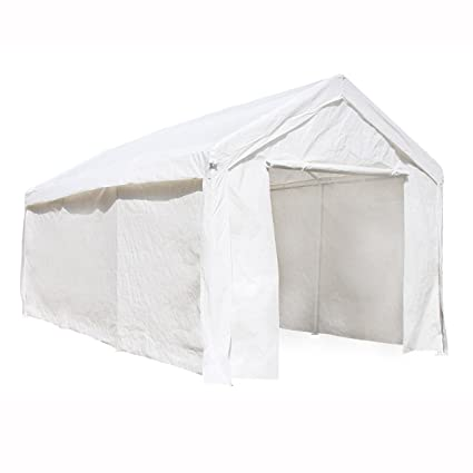 ALEKO CP1020WH Outdoor Event Carport Garage Canopy Tent Shelter Storage  with Sidewalls 10 x 20 x 8 5 Feet White