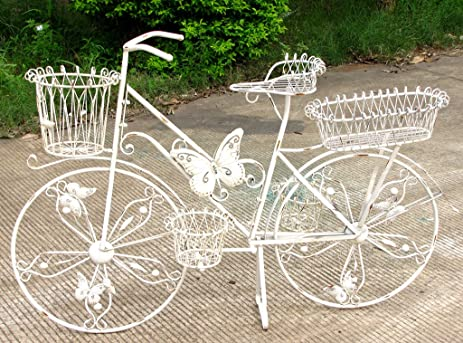 Unique Iron Butterfly Bicycle Planter With 5 Basket Bins   Antique White