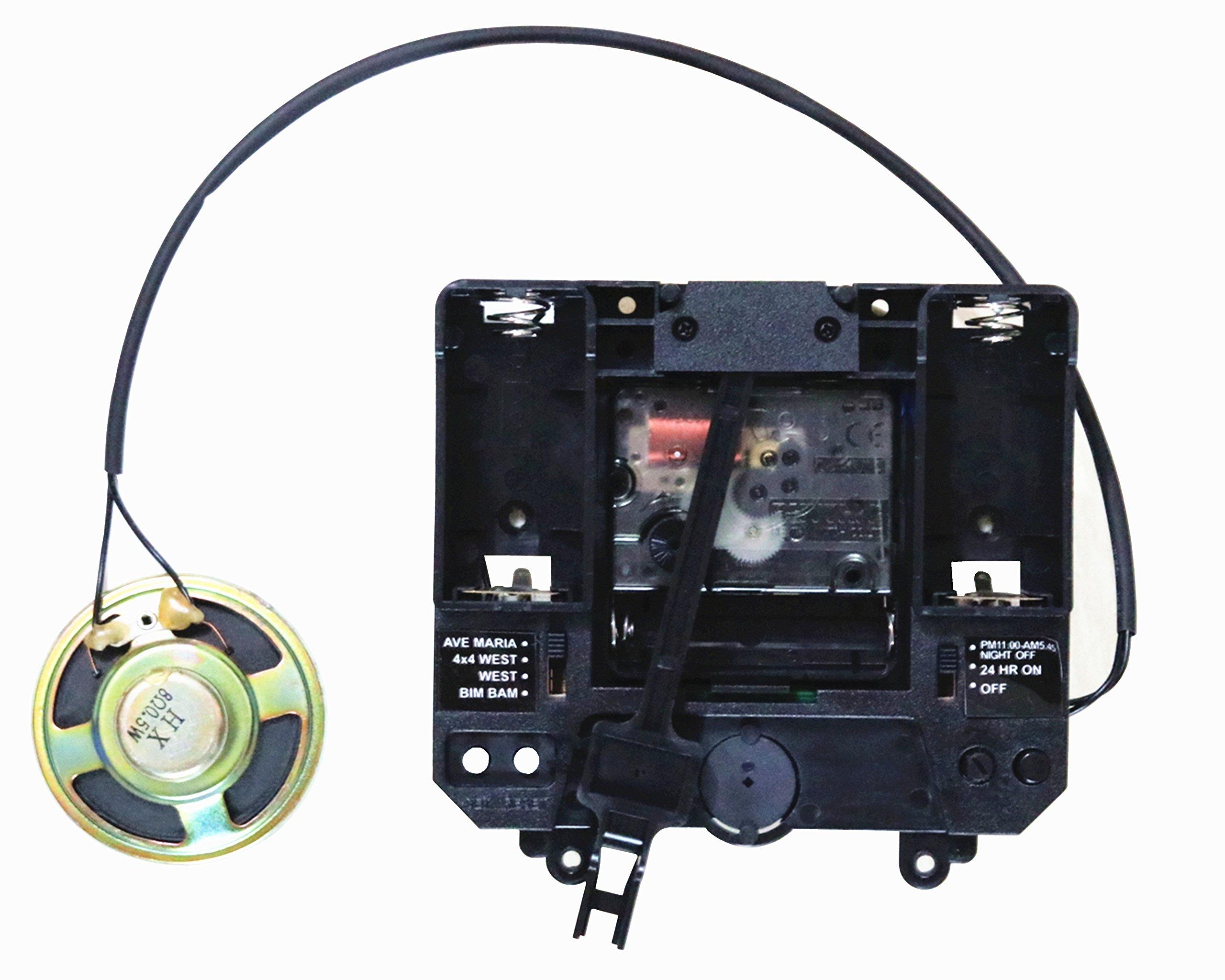 Rhythm Silent Movement with Music Chime Box Plastic Quartz Mechanism with 2# Hands & Pendulum Drive Units DIY Clock Accessory Kits