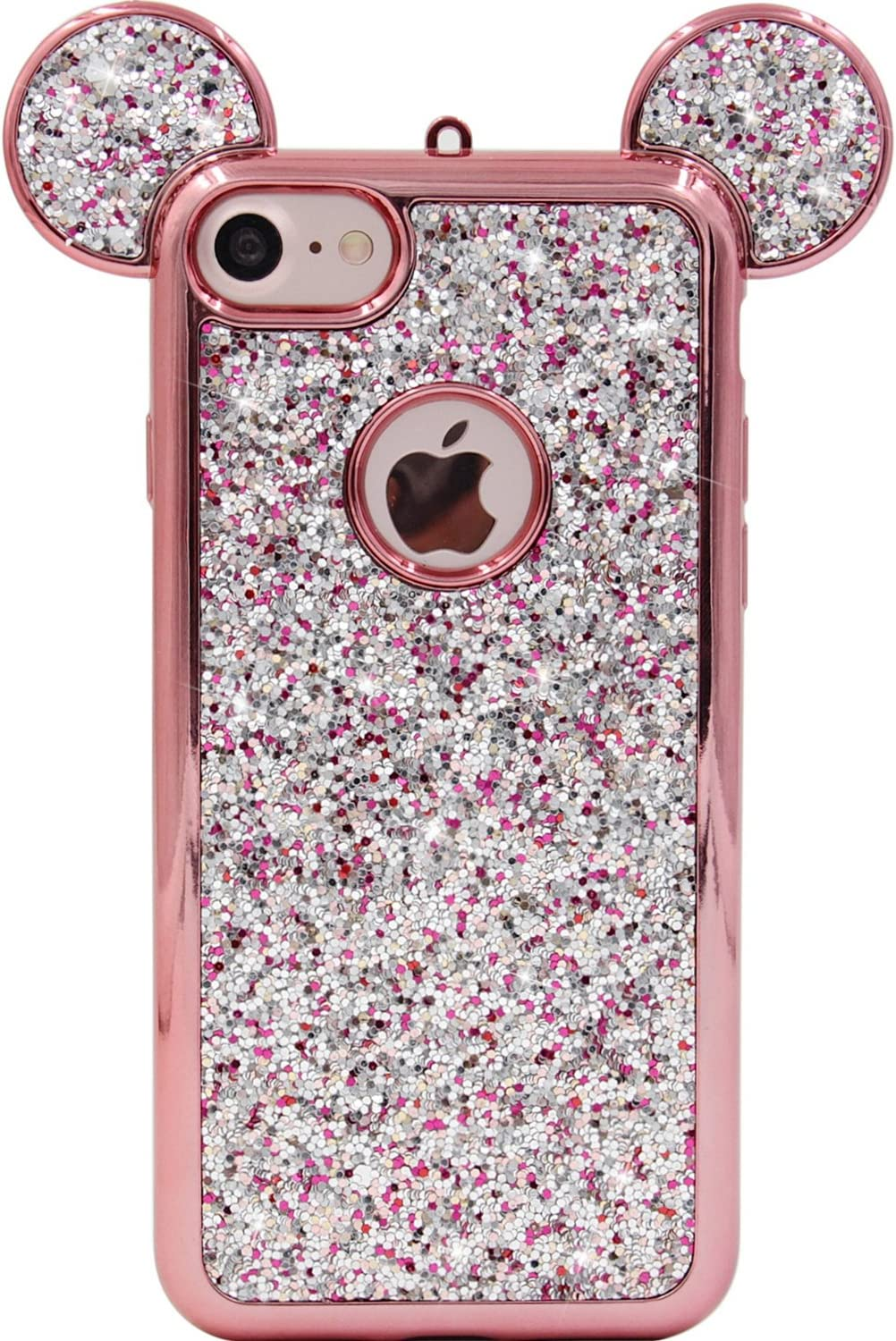 iPhone 8 Case, iPhone 7 Case, MC Fashion Super Cute Sparkle Bling Bling Glitter 3D Mickey Mouse Ears Soft and Protective TPU Rubber Case for iPhone 7/8 (Rose Gold)