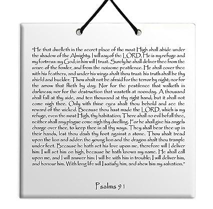 Holy TEHILLIM Psalms Chapter: 91 Wall Hanging Tile Decor Torah Bible Judaica