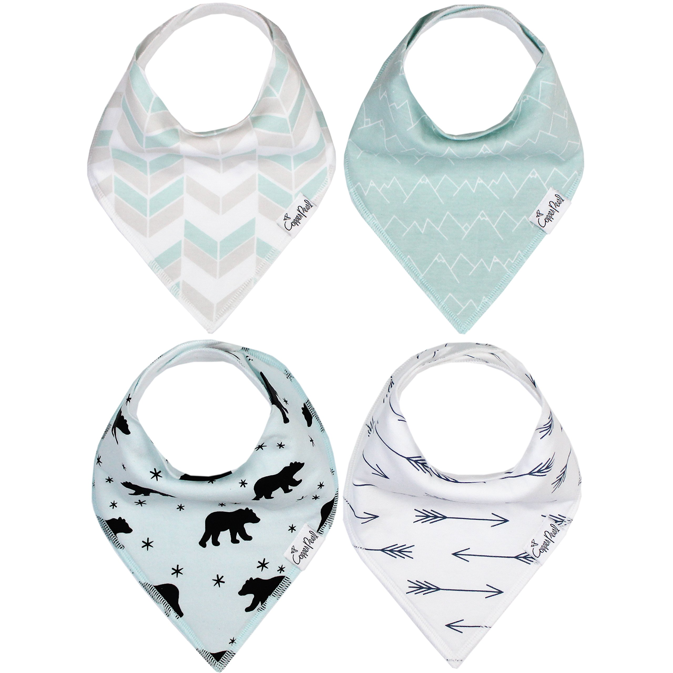 Baby Bandana Drool Bibs 4 Pack Gift Set For Boys ''Archer Set'' by Copper Pearl by Copper Pearl