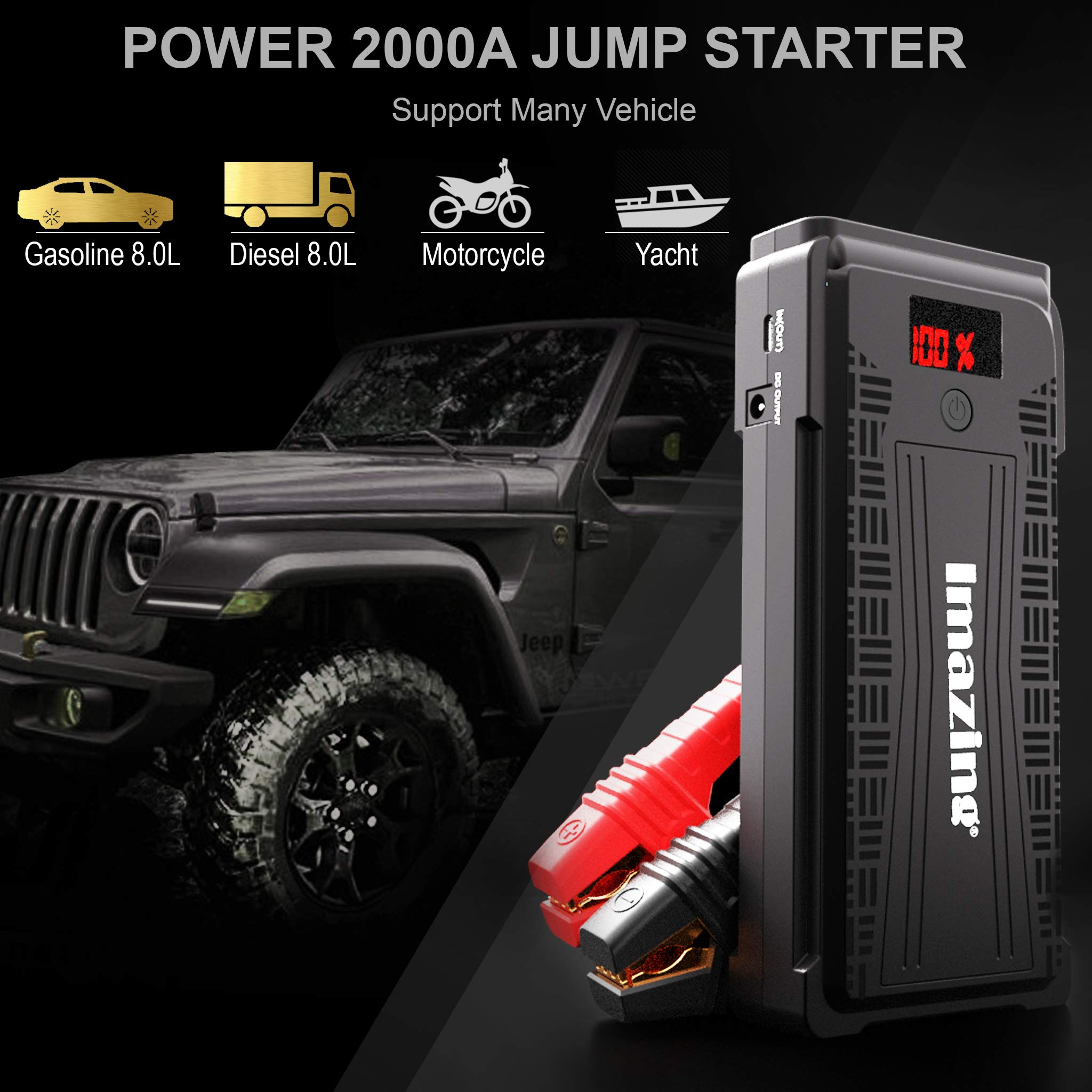 Imazing Portable Car Jump Starter - 2500A Peak 20000mAH (Up to 8L Gas or 8L Diesel Engine) 12V Auto Battery Booster Portable Power Pack with LCD Display Jumper Cables, QC 3.0 and LED Light by Imazing (Image #5)