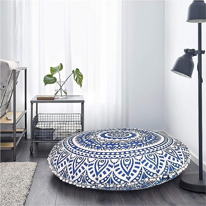 Gokul Handloom Indian Large Mandala Floor Pillow Comfortable Home Car Bed Sofa Large Mandala Floor Pillows Round Bohemian Meditation Cushion Cover Ottoman Pouf Cover Amazon Ca Home Kitchen