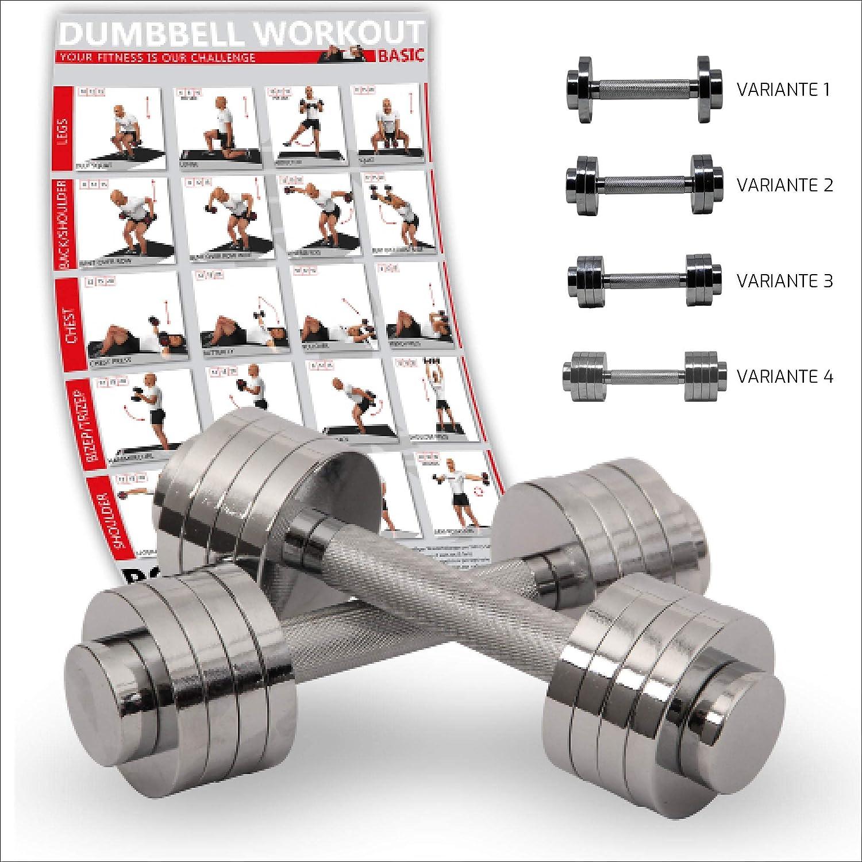Mancuernas cromadas AJUSTABLES 10 kg set (2 x 5 kg) - IDEALES para la POTENCIACIÓN y tonificación de los siguientes grupos musculares: bíceps, tríceps, ...