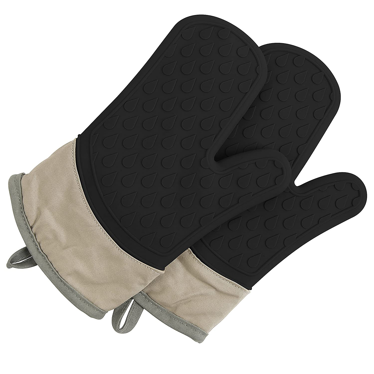 TOPHOME Oven Mitts Grilling Gloves Heat Resistant Gloves BBQ Kitchen Silicone Oven Mitts Long Waterproof Non-Slip Potholder for Barbecue Cooking Baking BBQ Gloves Black TH-CSuna-NB