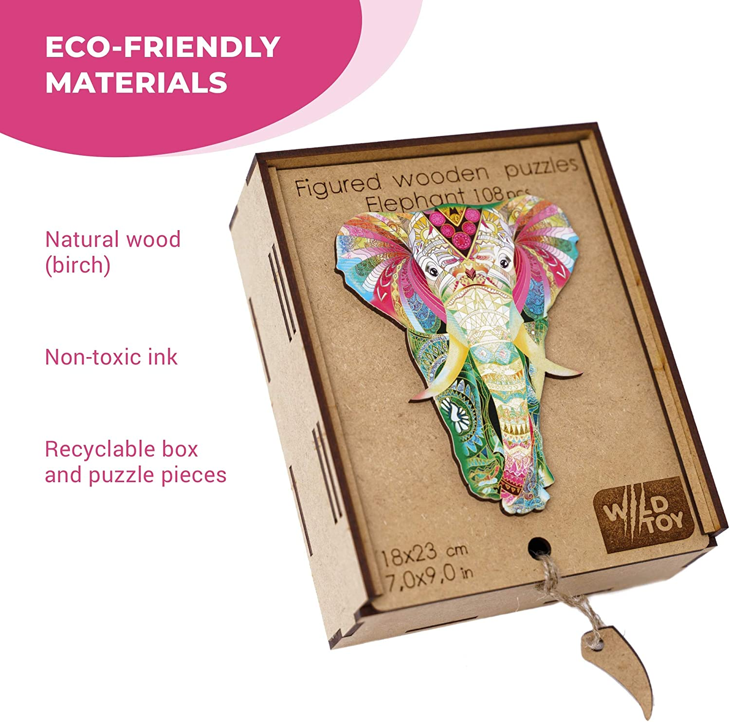 Wooden Puzzles for Adults Kids Families - Large 108 Unique Shape Pieces 9.0 x 7.0 in Elephant of India Wood Jigsaw Animal Shaped Puzzles 23x18cm Animal Crossing Puzzle Creative Craft Gift