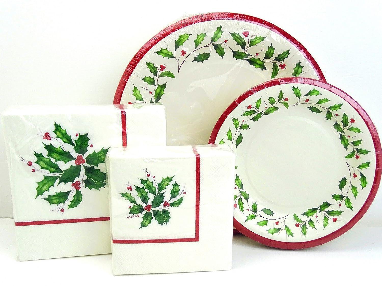 Amazon.com lxhol72 Lenox Holiday Holly Paper Plates and Napkins Set 72 pc Christmas Kitchen u0026 Dining  sc 1 st  Amazon.com & Amazon.com: lxhol72 Lenox Holiday Holly Paper Plates and Napkins Set ...