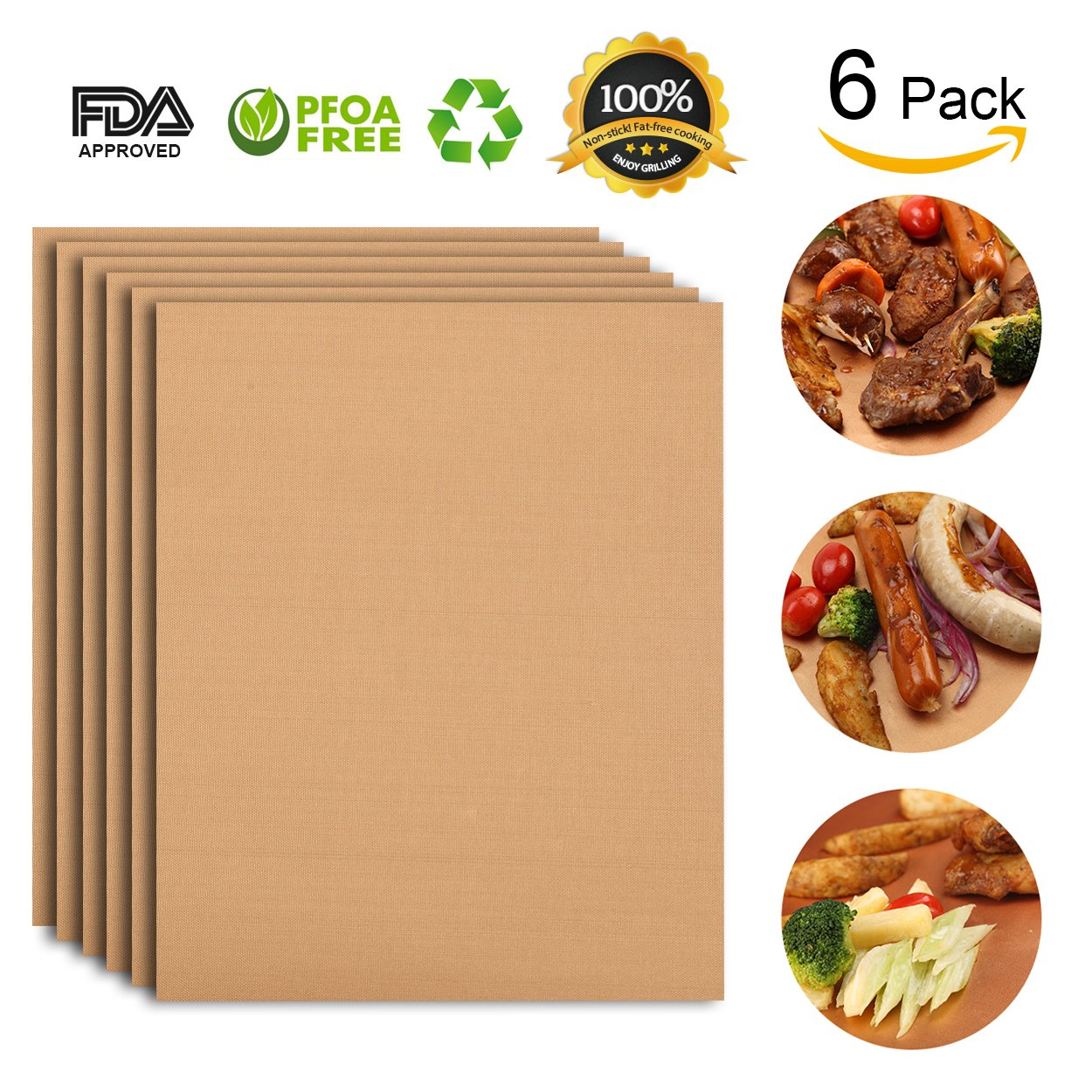 Copper bbq grill mat set of 6 Alimat Plus oven liner reusable
