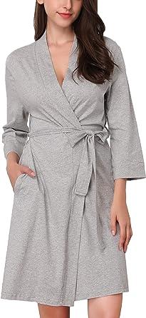 Memory baby Batas Kimono Mujer Algodón con Cinturón 3/4 Mangas Pijama Corto Ropa de Dormir Suave(Gris, S): Amazon.es: Ropa y accesorios