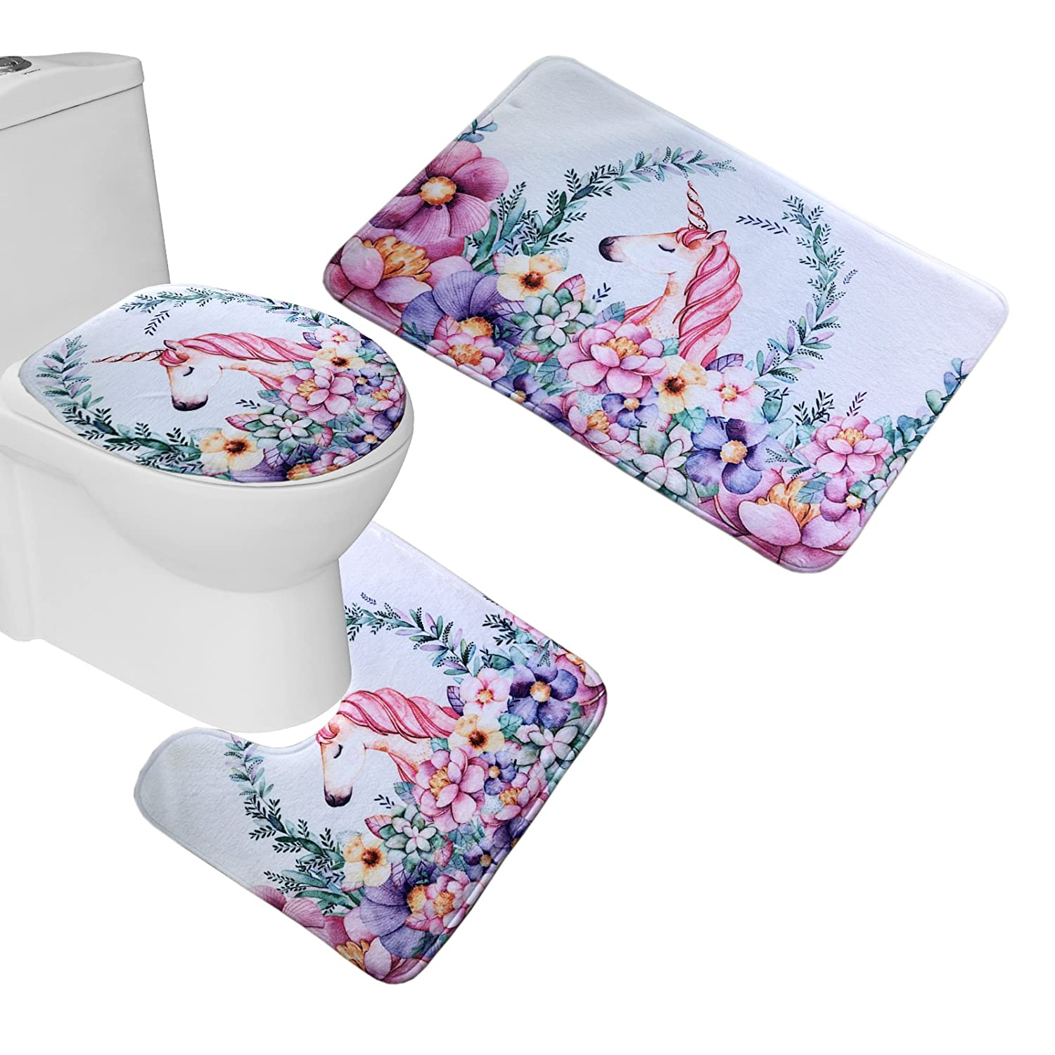 Bearbae 3 Piece Bath Mat Set Bathroom Pedestal Rug + Lid Toilet Cover + Bath Mat Colorful Flowers Unicorn Printed BB