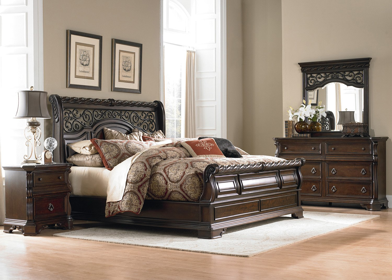 Amazon.com: Liberty Furniture Arbor Place Bedroom Queen Sleigh Bed,  Brownstone Finish: Kitchen U0026 Dining