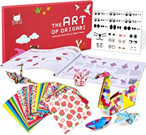 JoyCat Origami Paper Kit,90 Sheets Double Sided Origami Paper,Rainbow,Fruit and Solid Color Patterns,30 Origami Projects Craft Guiding Booklet for Beginner Training and School Craft Lessons