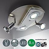 B.K. Licht plafonnier 4 spots LED, 2 spots fixes, 2 spots orientables, 4X3W, GU10, plafonnier salon salle à manger couloir cuisine, luminaire plafond intérieur, blanc chaud, 230V, IP20