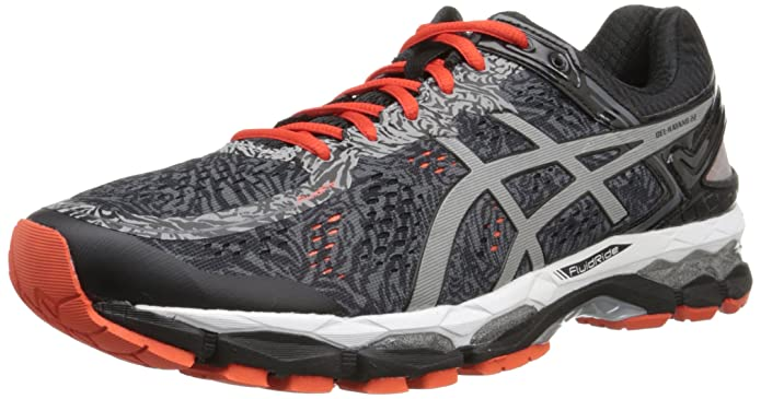 ASICS Men's Gel Kayano 22 Running Shoe, Carbon/Silver/Cherry Tomato (Lite-Show), 6 M US